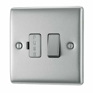 BG Electrical 13A Fused Connection Unit - Brushed Steel (NBS50) Nexus Metal