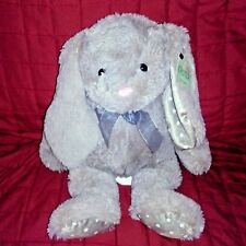 Best Made Toys Bunny Gray Soft 15in Plush White Polka Dots Ears Pads Gray Bow