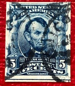 US Stamps SC#315 5 cents Blue Lincoln Imperforate Used CV:$1250