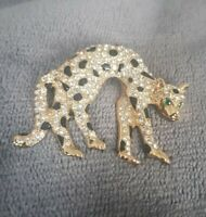 VINTAGE Brooch Leopard Big Cat Goldtone rhinestones Animal prowl about to pounce