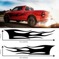 2Pcs Car Both Body Sides Decal Stickers Vinyl Waterproof Flame Pattern Black DIY