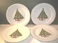 4 CHRISTMAS TREE DINNER PLATES WITH GOLD-TONE RIMS  10 1/2''