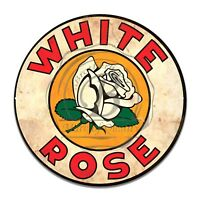 Vintage Design Sign Metal Decor Gas and Oil Sign - White Rose Gasoline Motor Oil
