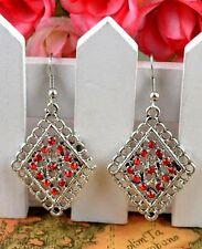 Nice New Tibetan Silver Red Crystal Diamond Shape Artesian Dangle Drop Earrings