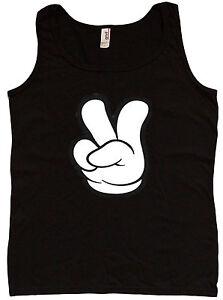 Ladies tank top Peace sign fingers design womens tee tshirt
