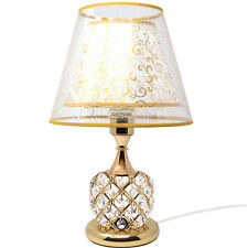 42cm Gold Table Desk Lamp Crystal Base Lighting Bedside Modern Living Room
