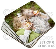 Set of 6 Personalised Photo Coasters Table Coaster Image Logo Text Picture Gift