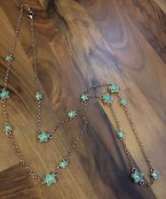 COLDWATER CREEK Gold Colored Chain Green Enamel Tropical Flower Long Necklace