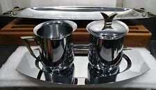 Mid Century Creamer & Sugar Set with two serving tays