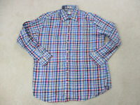 Peter Millar Button Up Shirt Adult Extra Large Blue Pink Plaid Casual Mens A12