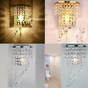 Modern Crystal Sconce LED Wall Lamp Aisle Bedside Bedroom with E14 Light Fixture