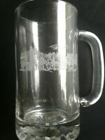 Vinyage Etched Clydesdales Budweiser Beer Glass Stein Mug Clear Handle 16oz