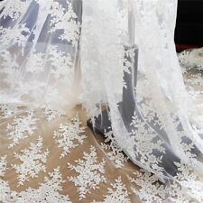 130CM RICAMO cordonato sposa pizzo tessuto avorio Floreale MATRIMONIO 1