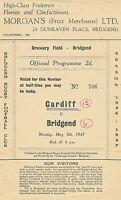 BridgendvCardiff  5 May 1947 RUGBY PROGRAMME