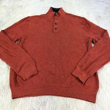 Brooks Brothers Men's XL Orange Henley Pullover Sweater Cotton Cashmere
