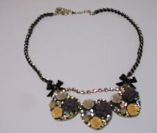 Betsey Johnson FABULOUS FLOWERS Beaded Rhinestone Rose BLINGY Necklace New NWOT