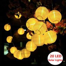 Solar Lampion Lichterkette 20 LED Warmweiß Bunt Lampions Innen Außen DE