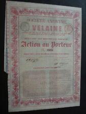 ACTION SOCIETE ANONYME VELAINE  EXPLOITATION MINERAIS  1862 SEILLES ARR DE HUY