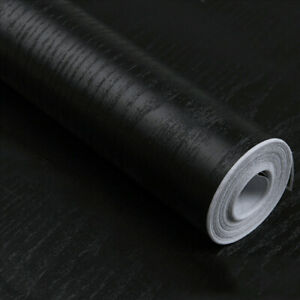 3m Black Wood Grain Wallpaper Stickers Self-Adhesive Furniture Film Vinyl Wrap