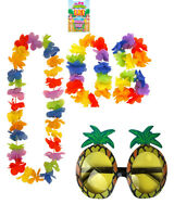 Hawaiian Accessories Unisex Lei Hula Set 4 Pcs + Pineapple Glasses 2 Pcs Set