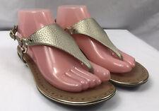 Sam Libby Women's Flat Sandals Size 7.5 Gold Metalic T-strap Sling Back Shoe