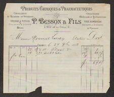 """CHALON-sur-SAONE (71) PRODUIT CHIMIQUE & PHARMACEUTIQUE """"P. BESSON & Fils"""" 1888"""