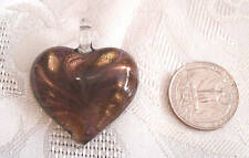 BROWN & GOLD SANDGLASS BEAD HEART NECKLACE PENDANT NEW
