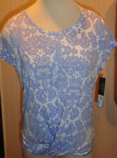 Ladies Daisy Fuentes Lavender Purple Floral Short Sleeve Blouse Size Small