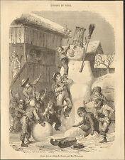 SUISSE BRIENZ BONHOMME DE NEIGE IMAGE PRINT 1850