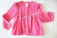 Baby Girl 24 M Months Sweater Jacket Cardigan Solid Pink Wonder Kids Long Sleeve