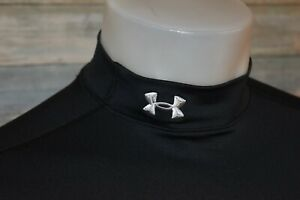 UNDER ARMOUR COLD GEAR FITTED Large Women's L/S Mock Neck Pullover Black