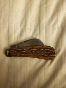 ANTIQUE IXL WOSTENHOLM SHEFFIELD STAG HAWKBILL HOOKBILL PRUNER KNIFE VINTAGE OLD
