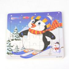 20pcs Wooden Puzzles Jigsaw Toddler Kids Child Educational Toy Penguin Xmas Gift