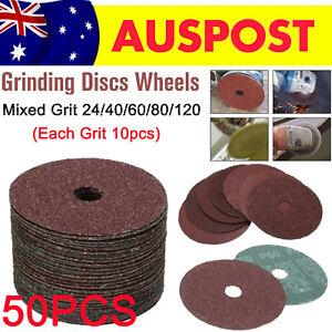 50X Fibre Sanding Grinding Discs Wheels mixed 24 40 60 80 120 Grit Angle Grinder