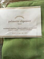 Pottery Barn Palmetto Sectional Armless Slipcover Jade Green 1 Seat and 2 Backs