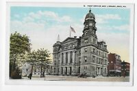 Post Office and Library, Erie, PA. White Border Unposted Postcard