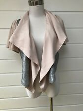 New PORTMANS Blush Pink And Silver Sequinned Short Sleeved Waterfall Jacket - S
