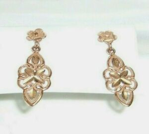 14K Rose Gold Pair of Filigree Dangle Earrings from Local Estate Sale *GORGEOUS*