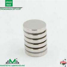 """6-count neodymium N45 Disc rare earth NdFeb magnets 3/4 x 1/8"""" (true N45)"""