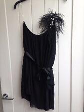 WOMENS ELEGANT LISPY BLACK FEATHERS JEWELED DRESS TOP EVENING UK 14 LADIES