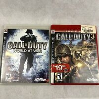 Call of Duty Lot PS3 2 Games Playstation 3 World at War COD 3 Red Label Complete