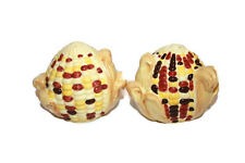Corn Salt and Pepper Ceramic Shakers Round Corn cobs