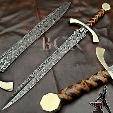TEMPLAR SWORD, CUSTOM MADE DAMASCUS STEEL BLADE, CROSS WOOD HANDLE