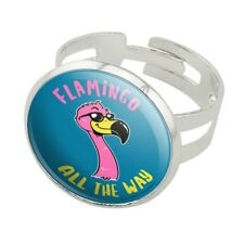 Flamingo All the Way Funny Humor Silver Plated Adjustable Novelty Ring