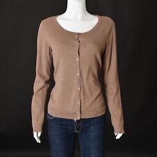 H&M Women Round Neck Button Front CARDIGAN Rib Hem/Cuff Long Sleeve Medium Brown