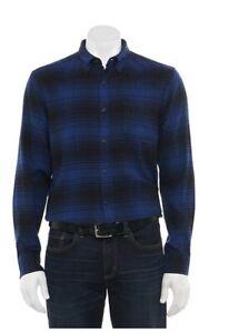 Mens Croft & Barrow Classic Flannel Button Down Shirt Blue Black Plaid NWT XL
