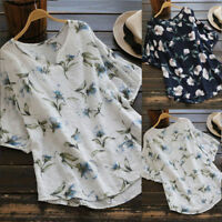 Plus Size 5XL Womens V Neck Casual Baggy Cotton Linen Floral T-Shirt Tops Blouse