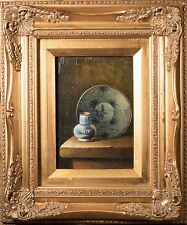 Beautiful Oil Painting Still Life Asian Plate & Vase, Nice Gold Frame, NICE!