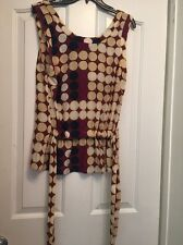 MARNI FOR H&M A69 100% Silk Brown Circle Sleeveless Top Size 4