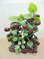 Chinese Stone and Glass Carved Grape Vine Tree Bonsai Sculpture